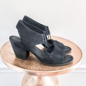Eileen Fisher Black Lino Suede Heel Sandals